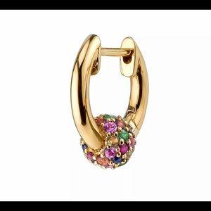 Rainbow Pave Bead Sterling Silver Hoop Earrings